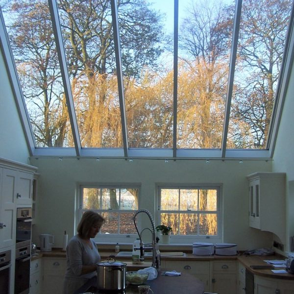 Fully glazed sloping ceiling